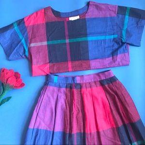 Vintage Pink-Blue plaid cotton two piece skirt set